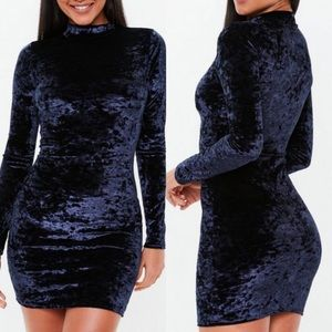 Missguided Dresses - ➳ Missguided Dark Navy Velvet Mini Dress